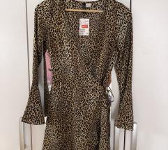 Leopardja obleka na preklop
