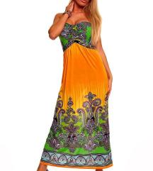Dolga poletna party bohemian obleka maxi rumena
