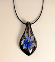 Ogrlica Steklena Modra