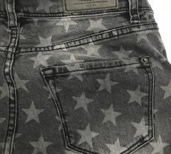 sive skinny jeans kavbojke z zvezdami