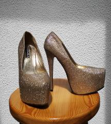 Zlati bleščeči čevlji s peto