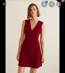 Rdeča v neck obleka