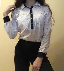Zarina bela srajca z temno modrimi detajli Xs