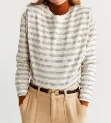 MANGO črtast pulover z etiketo