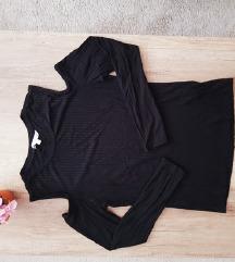 L Črna majica z odprtimi rameni