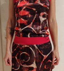 Pisana rjava roza poletna oblekica SMASH