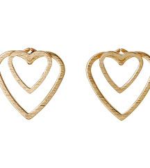 SRČKI - pozlačeni uhani - rose gold