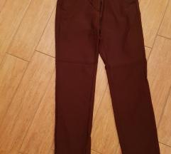 MANGO zimske 7/8 hlače,  bordo barve, NOVE