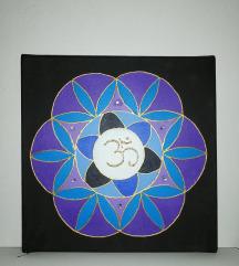 Mandala z duhovnim simbolom OM (akril platno)