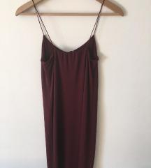 Dolga bordo rdeča obleka