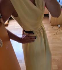 Dolga elegantna rumena obleka
