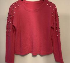 Roza pulover s perlicami