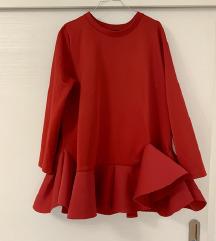 Scuba rdeča obleka