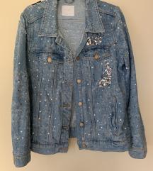 Zara jeans jakna z bleščicami