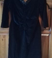 ZNIZANO črna velvet obleka