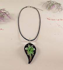 Ogrlica Steklena Zelena