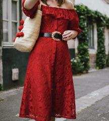 NOVA Zara rdeča čipkasta obleka (MPC:50 EUR)