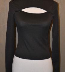H&M črna rebrasta majica z izrezom