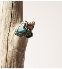 Modro-zelen prstan srce