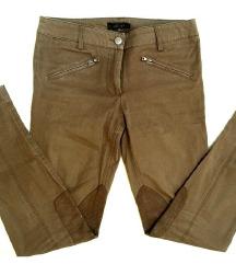 ZNIŽ.Rjave hlače z usnjem