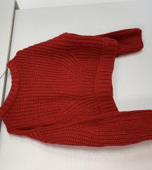 Rdeč cropped pulover