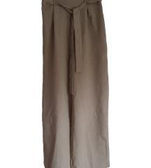 Rjave širše hlače s pasom