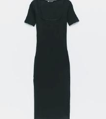 Zara črna ribbed midi obleka M