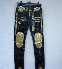 JEANS hlače z zlatim potiskom XS