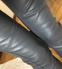 Sive usnjene biker hlače