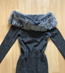 Siv pulover s krznom