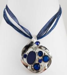 Ogrlica-jeklo,poldragi kamni,nova-znižana