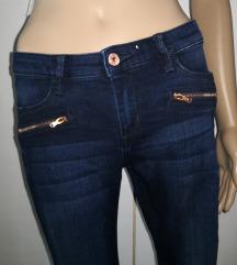 H&M temno modre hlače z zadrgami