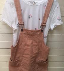 Žametna rožnata obleka z naramnicami