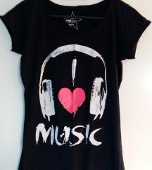 Nenošena kratka majica I LOVE MUSIC