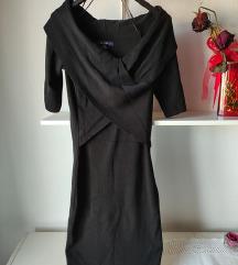 Črna wrap obleka carmen izrez, nošena 1x