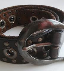 Rjav usnjen studded pas leather belt REPLAY