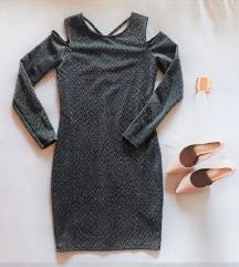 Bodycon siva oblekica z blescicami