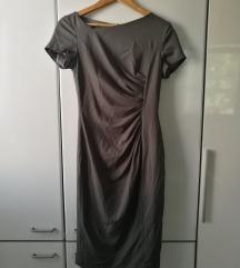 siva midi obleka asimetričen izrez