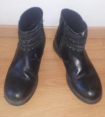 Gležnarji usnjeni čevlji deklica črni