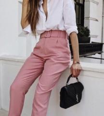 Zara roza hlače / pink pants with belt