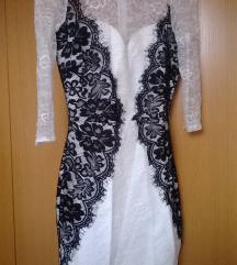 črno bela čipkasta oblekica