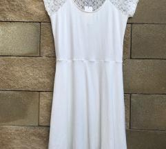 NOVA bela obleka s čipko - Terranova