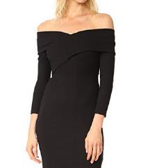 Črna obleka carmen izrez