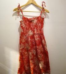 Rdeča poletna oblekica s potiskom