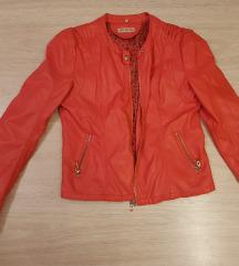 Rdeča jakna imitacija usnja