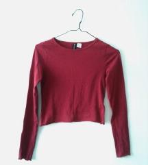 H&M temno rdeč crop top