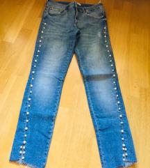 Zara jeans s perlami M