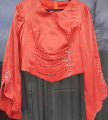 Nova marelično oranžna party svetleča bluza
