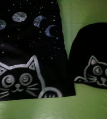 witch cat tote bag,torbica in kapa z mucko