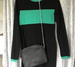 Črno-zelena oprijeta obleka BREZ TORBICE